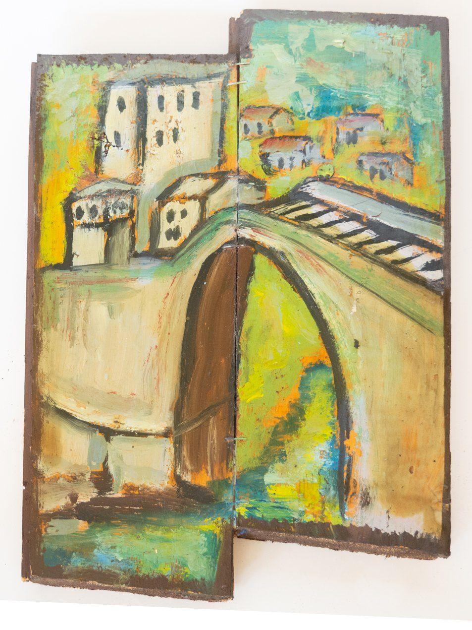 "Acuarela sobre tabla ""Puente de Mostar"": Tipo: acuarela sobre tabla Procedencia: artista urbano, Mostar, Bosnia-Herzegovina. Tamaño: 20x15cm."