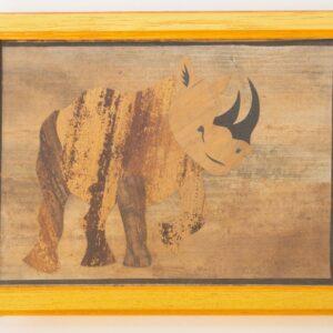 Cuadros elaborado en base a composición de marquetería.Procedencia: artista urbano, Tanzania.Tamaño: 15x30cm.