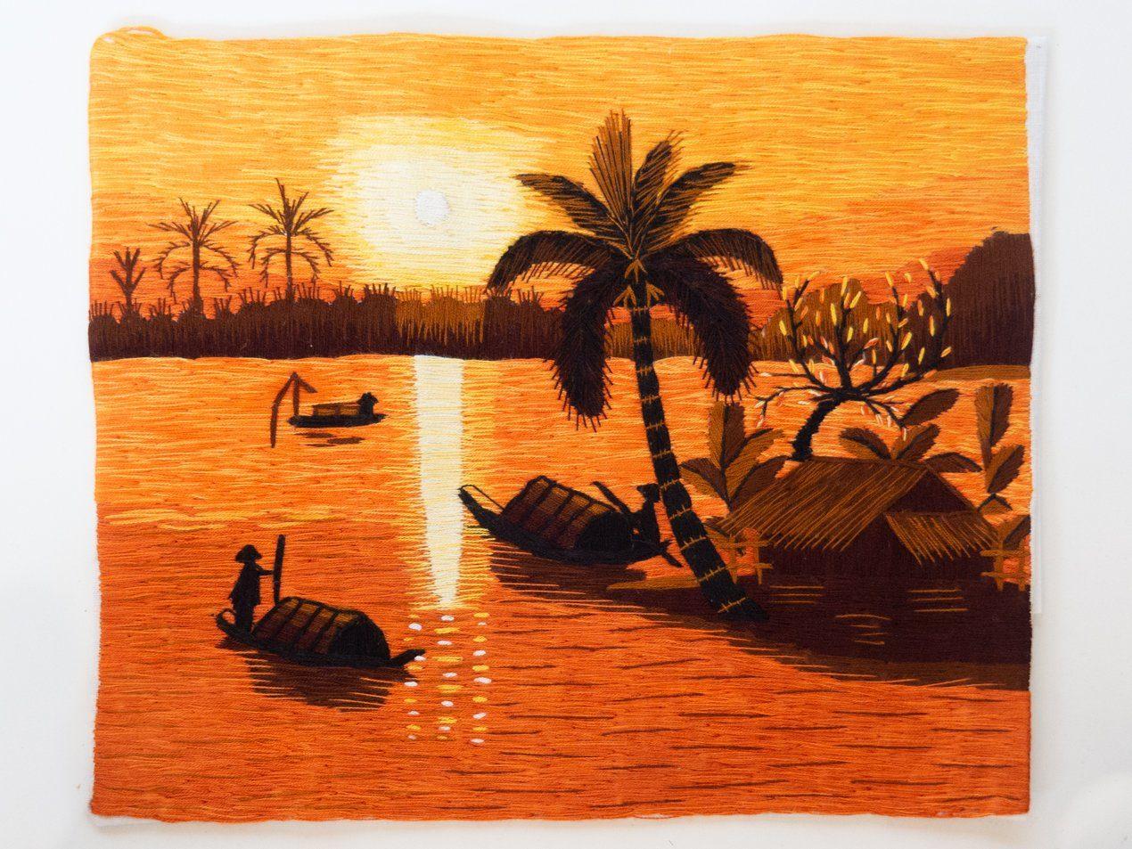 Bordado de hilo con imagen de casa flotante vietnamita